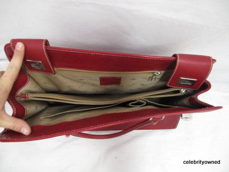 Rafe Red Textured Leather Silver Turn Lock Extra Large Tote