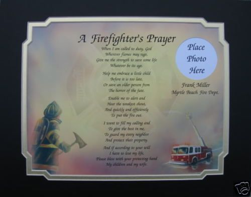FIREFIGHTERS PRAYER PERSONALIZED POEM GIFT FOR FIREMAN