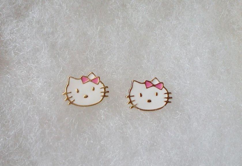 18Kt Gold gf GIRLS PINK HELLO KITTY STUD EARRINGS