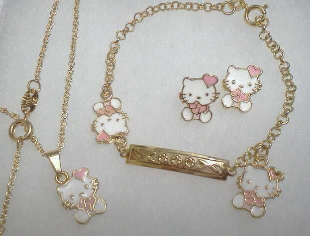 18Kt Gold gf GIRLS PINK HEART HELLO KITTY Earrings Necklace 4pc SET